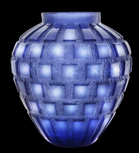 Daum  Rhythms Blue vase  11.2 in.