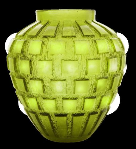 Daum  Rhythms Green olive vase  11.2 in.
