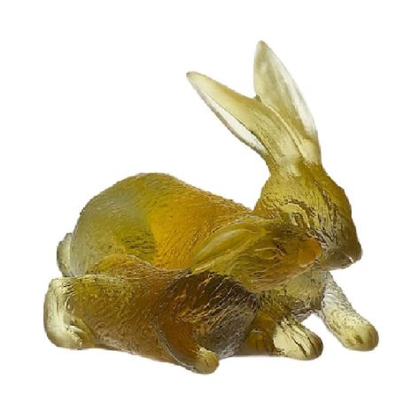 Daum  Chinese Horoscope Amber-Grey Rabbits  2.8 in.