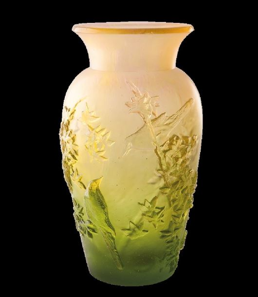 Daum Green Summer vase  14.4 in. 99 edition limit
