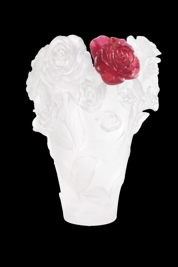 Daum  Rose Passion  White vase & red flower  14 in. 500 edition limit