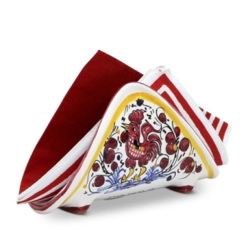 Deruta ORVIETO RED ROOSTER Napkin Holder