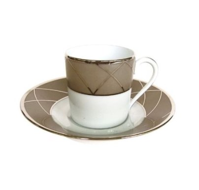 Haviland AURORE WITH ARCHES ESPRESSO CUP/SAUCER CYL