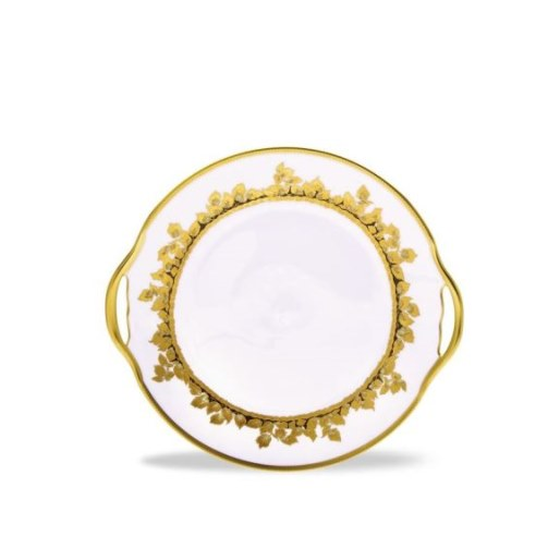 Haviland FEUILLE D'OR Handed Cake Plate