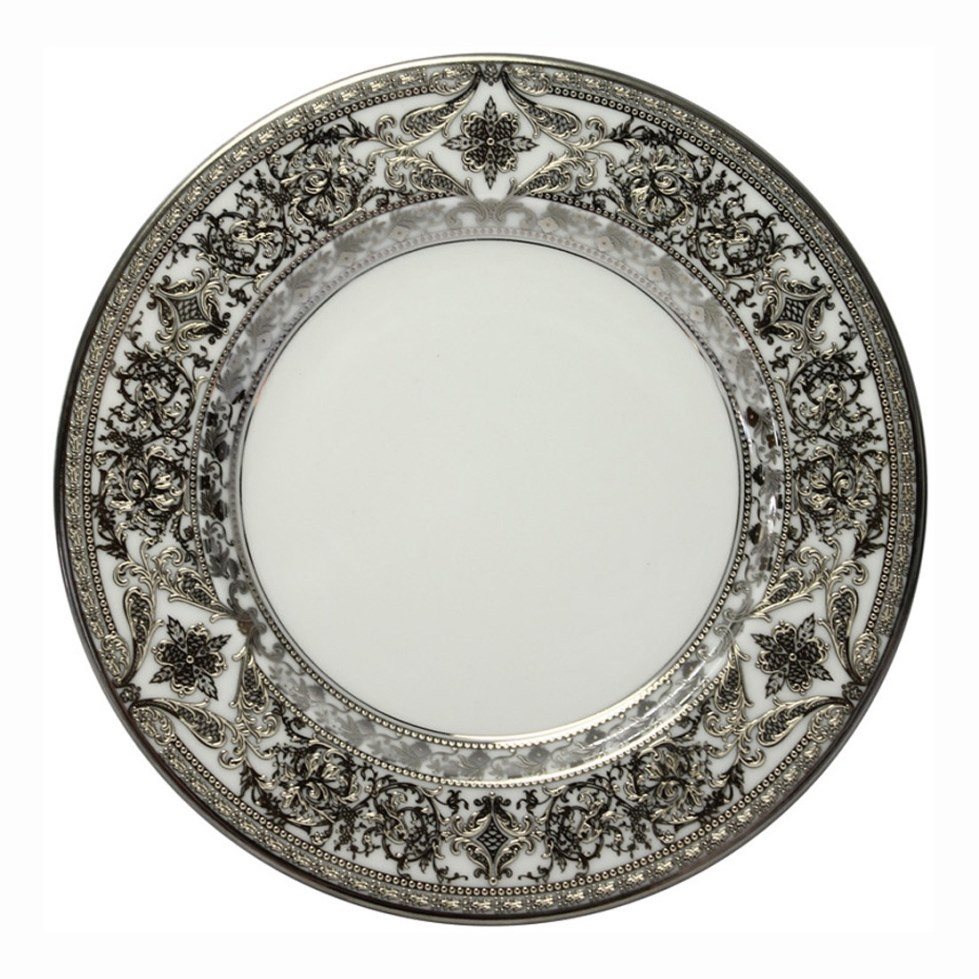 Haviland MATIGNON WHITE AND PLATINUM Dinner Plate