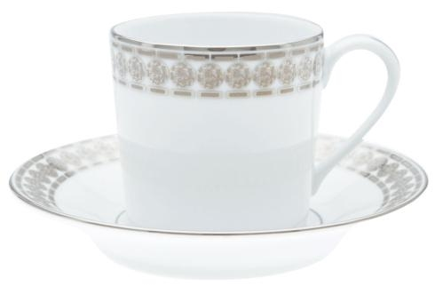Haviland ETERNITY WHITE/PLATINUM COFFEE CUP/SAUCER CYL.