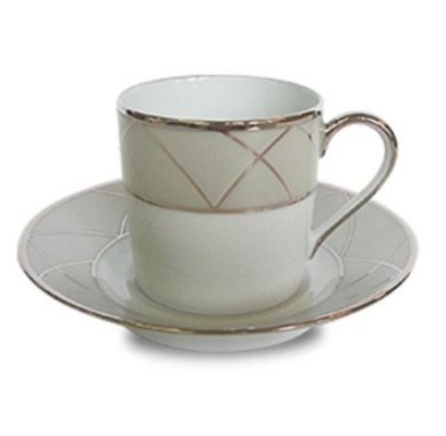 Haviland CLAIR DE LUNE W/ARCHES COFFEE CUP/SAUCER CYL