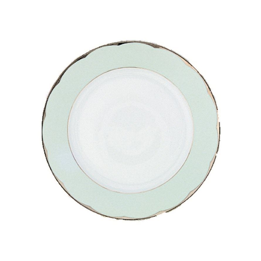 Haviland ILLUSION CELADON AND PLATINUM RIM Dinner Plate