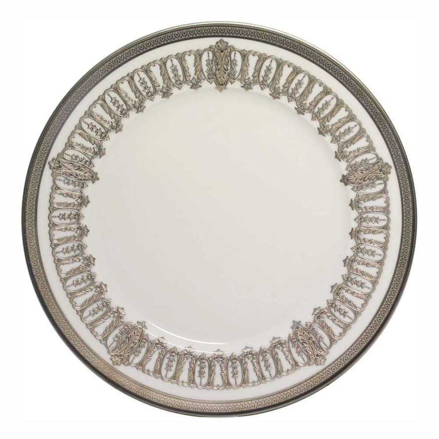 Haviland ST HONORE WHITE AND PLATINUM Dinner Plate