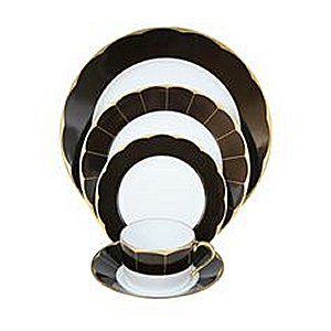 Haviland ILLUSION CHOCOLATE AND GOLD RIM