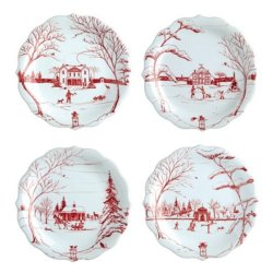 Juliska Country Estate Winter Frolic Ruby Party Plate Set/4