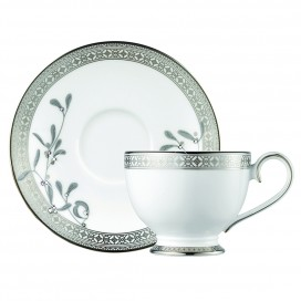 Prouna Platinum Leaves Tea Cup & Saucer
