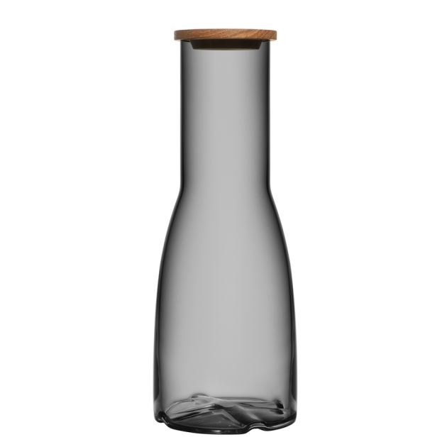 Kosta Boda Bruk Carafe with Oak Lid (smoke grey)