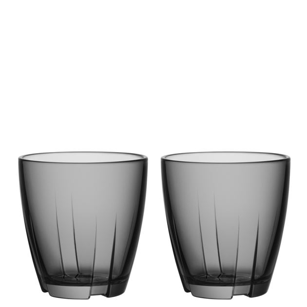 Kosta Boda Bruk Tumbler (smoke grey, small, pair)