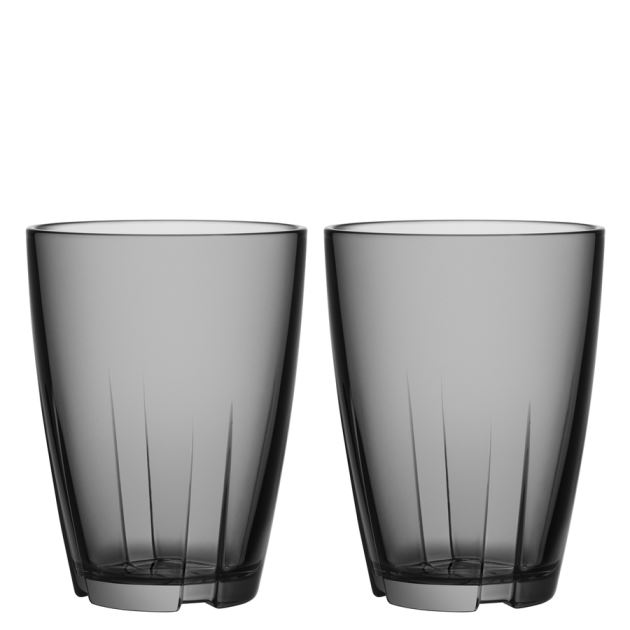 Kosta Boda Bruk Tumbler (smoke grey, large, pair)
