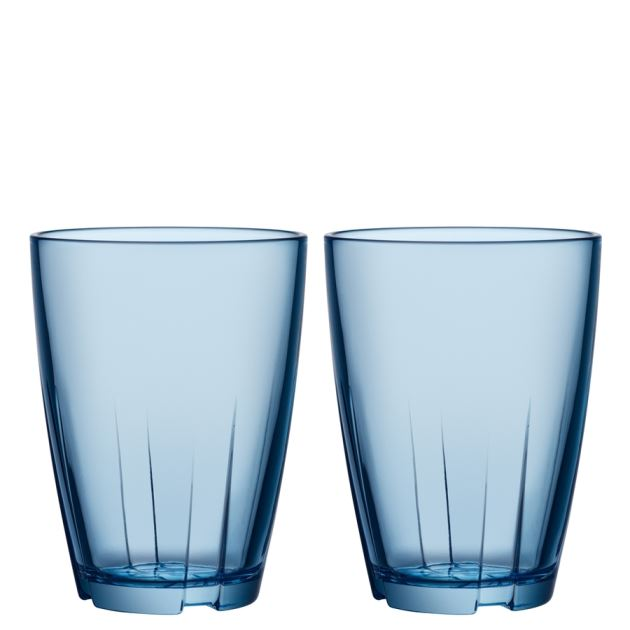 Kosta Boda Bruk Tumbler (water blue, large, pair)