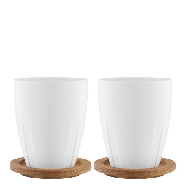 Kosta Boda Bruk Mug With Oak Lid (porcelain, pair)