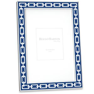 REED AND BARTON SILVER LINK FRAME 4X6 NAVY