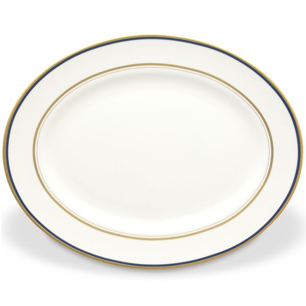Kate Spade LIBRARY LANE NAVY DW OVAL PLATTER 13.0