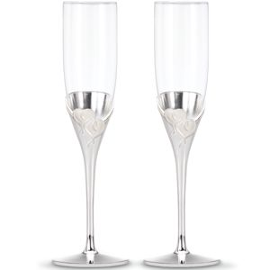 Lenox TRUE LOVE SILVER PLATED FLUTE PAIR