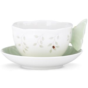 Lenox  BUTTERFLY MEADOW FIG GREEN CUP & SAUCER 5.0 d,8 oz