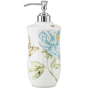 Lenox  BLUE FLORAL GARDEN LOTION DISPENSER 9 h