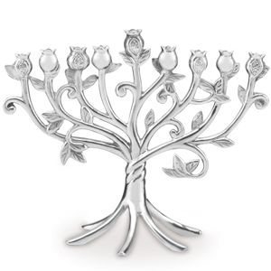 Lenox  JUDAIC BLESSINGS METAL MENORAH 8 h,10.25 l