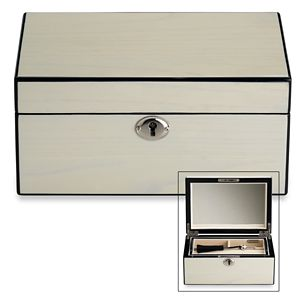 REED AND BARTON PERSONALIZED MODERN LINES CREAM JEWELRY BOX