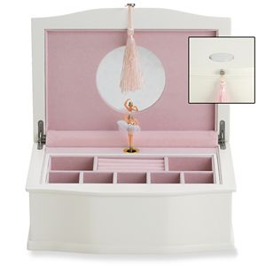 REED AND BARTON PERSONALIZED BALLERINA MUSICAL CHEST WHITE/PINK