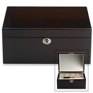 REED AND BARTON PERSONALIZED MODERN LINES ESPRESSO JEWELRY BOX