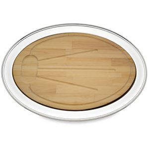 REED AND BARTON PERSONALIZED BENCHMARK OVAL TRAY W/WOOD BOARD