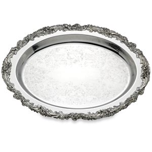 REED AND BARTON PERSONALIZED BURGUNDY OVAL TRAY 16.0