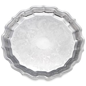 REED AND BARTON PERSONALIZED CHIPPENDALE ROUND TRAY 12 1/2 EMBOSSED