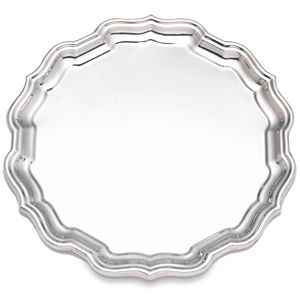 REED AND BARTON PERSONALIZED CHIPPENDALE ROUND TRAY 10.0
