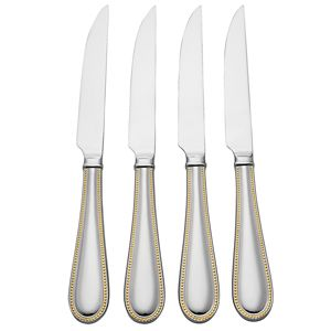 REED AND BARTON LYNDON GOLD FLATWARE STEAK KNIVES S/4
