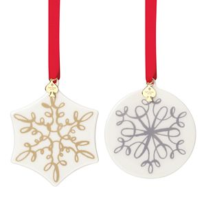 Kate Spade JINGLE ALL THE WAY ORNAMENT SET GOLD/BLK