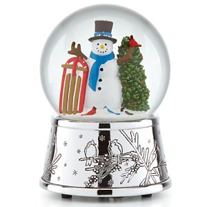 REED AND BARTON SNOWMAN & SLEIGH MUSICAL SNOWGLOBE