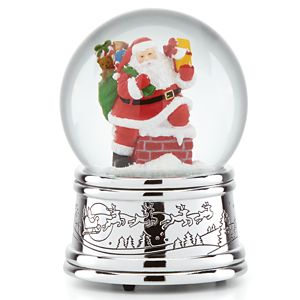 REED AND BARTON ROOFTOP SANTA MUSICAL SNOWGLOBE