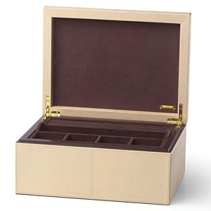 REED AND BARTON MELROSE LARGE LEATHER JEWELRY BOX