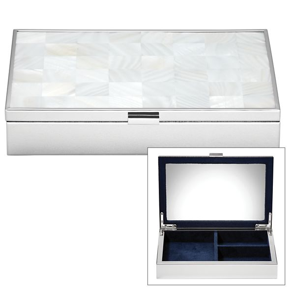REED AND BARTON MOTHER OF PEARL SILVER JEWELRY BOX