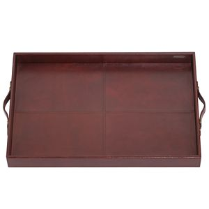 REED AND BARTON HUDSON LEATHER BAR TRAY