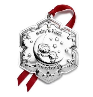 Empire Silver 2019 Sterling Silver Baby's First Christmas Bear on Moon Ornament