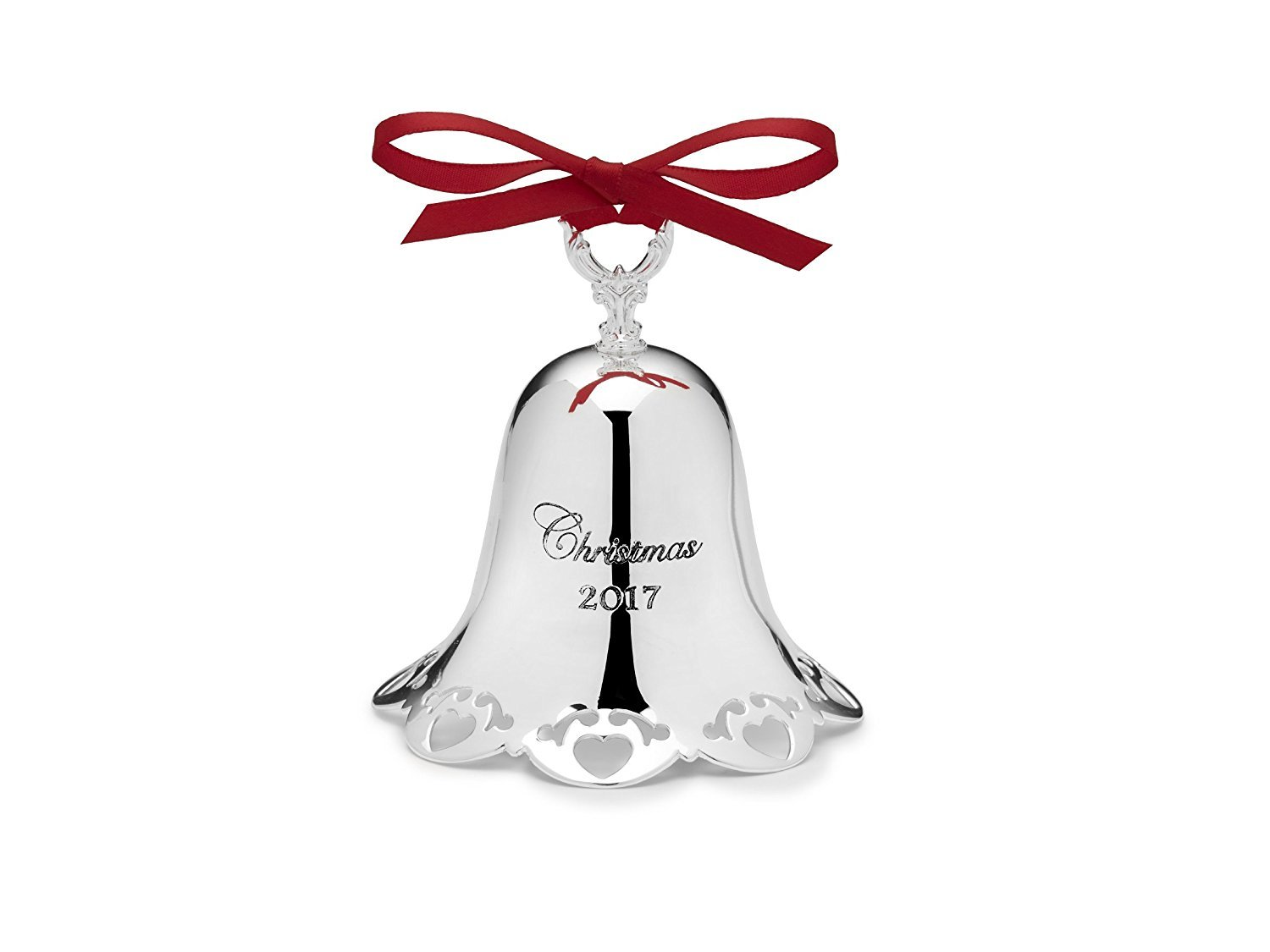 Towle 2017 Silver-plate Pierced Bell Ornament (Heart Border) - 38th Edition