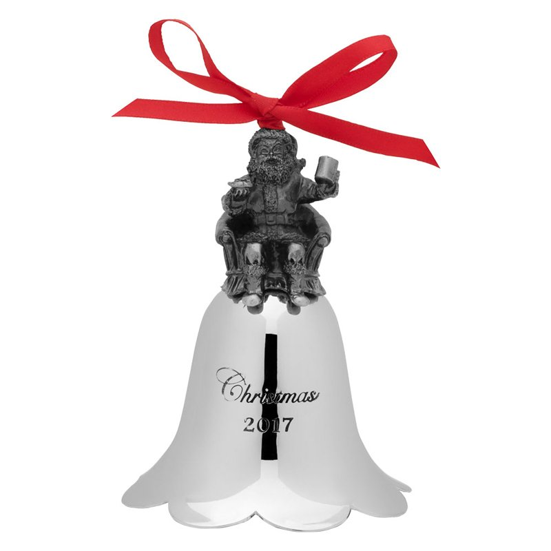 Wallace 2017 Nickel-plated Santa Bell (Santa on Chair) - 26th Edition