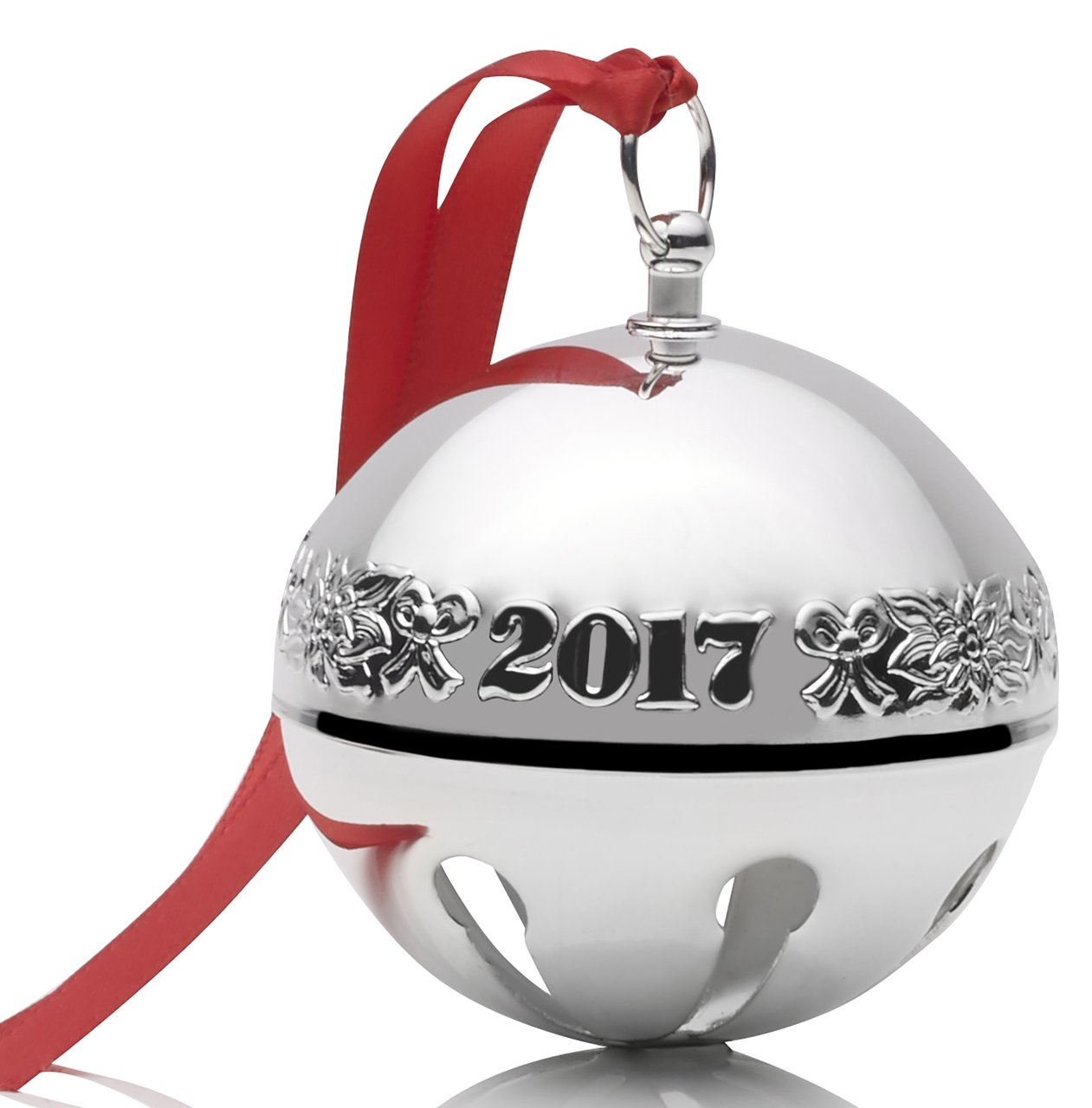 Wallace 2017 Silver-plate Sleigh Bell - 47th Edition (Ribbons & Flowers)