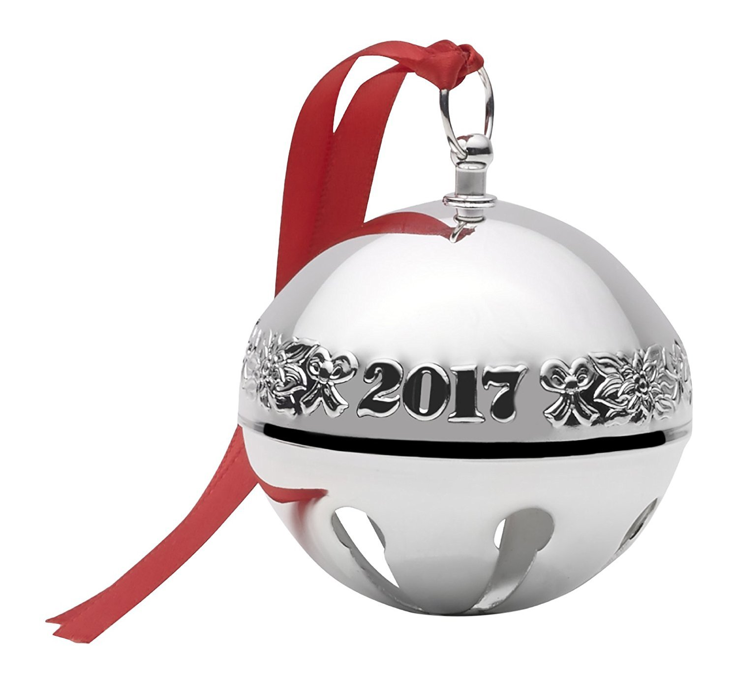 Wallace  2017 Sterling Sleigh Bell - 23rd Edition (Ribbons & Flowers)