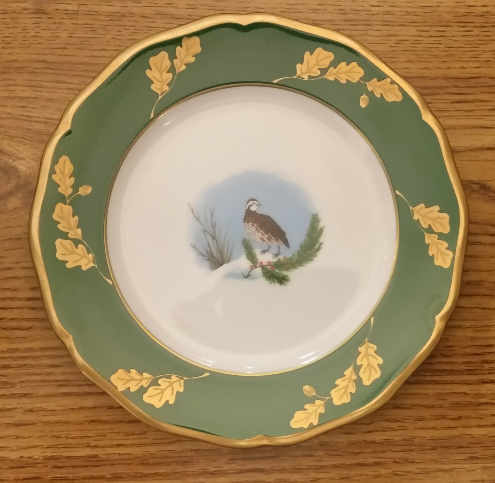 Lynn Chase Winter Game Bird Green Dinnerware
