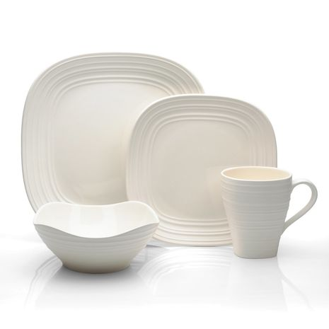 Mikasa SWIRL Square WHITE 4Piece Place Setting