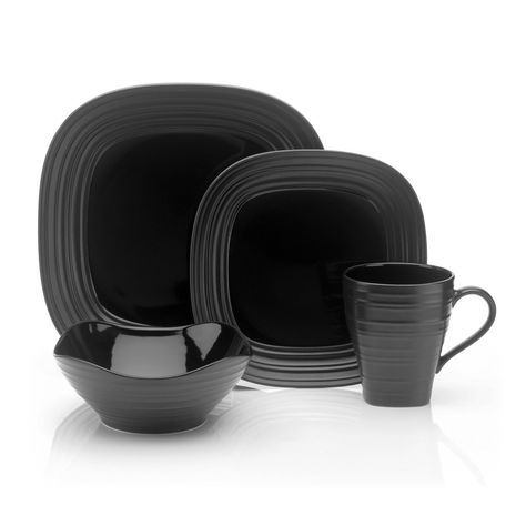 Mikasa SWIRL Square BLACK 4 Piece Place Setting
