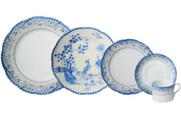 Mottahedeh Virginia Blue 5Pc Place Setting With Plain Center Bread And Butter